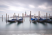 View of the Venetian gondolas on St. Mark's Square, in the background the island of San Giorgio, Venice, Veneto, Italy, Europe