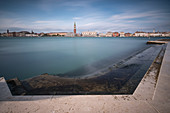 View of the Campanile de San Marco from San Gorgio Maggiore, Venice Lagoon, Veneto, Italy, Europe