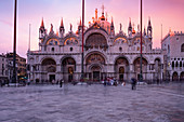View of St. Mark's Basilica at sunset, Basilica San Marco, St. Mark's Square, Piazza San Marco, Venice, Veneto, Italy, Europe