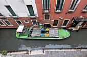 In Venice, the garbage collection comes by ship, San Marco, Venice, Veneto, Italy, Europe