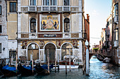 View of the mosaic facade of Palazzo Salviati on the Grand Canal, Venice, Veneto, Italy, Europe