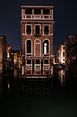 View of the Palazzo Tetta at night in San Marco, Venice, Veneto, Italy, Europe