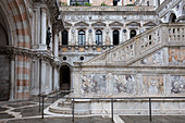 View of the giant staircase in the inner courtyard of the Doge's Palace, Palazzo Ducale, San Marco, Venice, Veneto, Italy, Europe