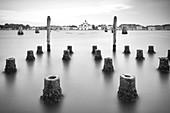 View across the lagoon to the Le Zitelle church on Giudecca, Venice, Veneto, Italy, Europe