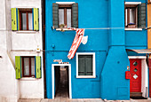 View of the colorful facades in Burano, Venice Lagoon, Veneto, Italy, Europe
