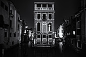 View of the Palazzo Tetta at night in San Marco, Venice, Veneto, Italy, Europe