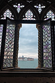 View from the window of the Doge's Palace to the island of San Giorgio, Palazzo Ducale, San Marco, Venice, Veneto, Italy, Europe