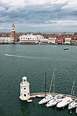 View from the Campanile over the dome of the Basilica San Giorgio Maggiore on San Marco, Venice, Veneto, Italy, Europe