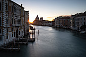 View of the Grand Canal at sunrise, in the background San Maria della Salute, Venice, Veneto, Italy, Europe