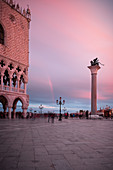 View of the Lion of St. Mark and Doge's Palace at sunset, Piazza San Marco, Venice, Veneto, Italy, Europe