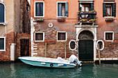 View of a facade on a canal in Cannaregio, Venice, Veneto, Italy, Europe