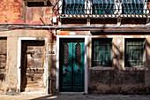 View of a house facade in Cannaregio, Venice, Veneto, Italy, Europe