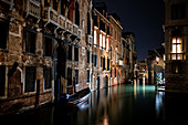 View of Venetian facades at night, in the background the Palazzo Tetta, San Marco, Venice, Veneto, Italy, Europe