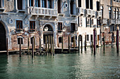 View of the house facade along the Grand Canal, Venice, Veneto, Italy, Europe
