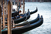 View of a gondolier cleaning his gondola on the Grand Canal, Venice, Veneto, Italy, Europe
