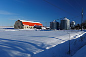Farm in winter, Quebec, Canada