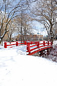 Red bridge in Montreal park