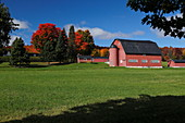 Red barn in Countryside Quebec; Canada