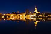 Winter evening in Kitzingen am Main, Lower Franconia, Franconia, Bavaria, Germany, Europe