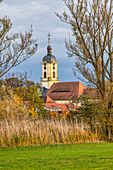 View of the church of Scheinfeld, Neustadt an der Aisch, Middle Franconia, Franconia, Bavaria, Germany, Europe