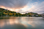 Käppele and Marienberg Fortress in Würzburg at sunset, Lower Franconia, Franconia, Bavaria, Germany, Europe