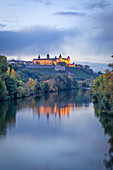 The Marienberg Fortress in Würzburg at the blue hour, Lower Franconia, Franconia, Bavaria, Germany, Europe