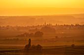 View from Schwanberg to Mainbernheim, Kitzingen, Lower Franconia, Franconia, Bavaria, Germany, Europe