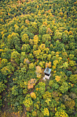 The Andreas Därr tower in the autumnal Steigerwald, wine paradise, Middle Franconia, Franconia, Bavaria, Germany, Europe