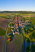 Aerial view of Greuth, Castell, Kitzingen, Lower Franconia, Franconia, Bavaria, Germany, Europe