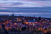 Blue hour on the Main, Sulzfeld, Kitzingen, Lower Franconia, Franconia, Bavaria, Germany, Europe