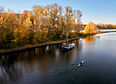 The Rhine near Bad Honnef in autumn, North Rhine-Westphalia, Germany