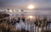 Sunrise in autumn with fog at Ostersee, Bavaria, Germany