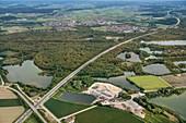 Lake District, aerial view of the A7 motorway near Ulm, Danube, Germany