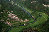 Curving and wild Danube in the breakthrough valley near Fridingen, aerial view of the Upper Danube Valley Nature Park, Danube, Germany
