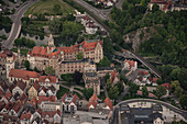 Aerial view from the castle in Sigmaringen, Baden-Wuerttemberg, Danube, Germany