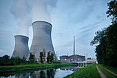 Steam rises from cooling tower of nuclear power plant (AKW) near Gundremmingen, Günzburg district, Bavaria, Danube, Germany
