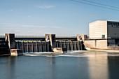 Hydroelectric power station, Bertoldsheim near MarkRennertshofen, Bavaria, Danube, Germany