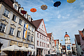 Koenigstrasse and the Mitteltor in the old town of Dillingen an der Donau, Bavaria, Germany