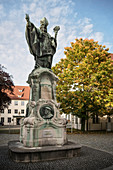 Ulrich monument in front of the district court, Dillingen an der Donau, Bavaria, Germany