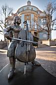 Musikantenbrunnen in der Altstadt von Donaueschingen, Schwarzwald-Baar-Kreis, Baden-Württemberg, Deutschland