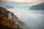 View over fog blanket to Werenwag Castle, Nebel, Upper Danube Valley Nature Park, Danube, Germany