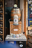 Beer fountain in the old town of Ehingen, Danube, Alb-Donau district, Baden-Württemberg, Germany