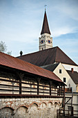 City wall and Church of St Blasius, Ehingen, Danube, Alb-Donau district, Baden-Württemberg, Germany