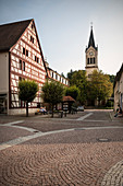 Half-timbered houses and town church in Fridingen an der Donau, Baden-Württemberg, Germany