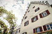 Garden of the Schlachtegg rose castle in Gundelfingen on the Danube, Dillingen district, Bavaria, Germany