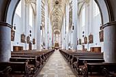 View to the altar in Stadtpfarrkirche St Martin, Lauingen, Dillingen district, Bavaria, Danube, Germany