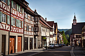 Half-timbered row of houses and town hall in Upper Town of Mühlheim an der Donau, Baden-Württemberg, Germany