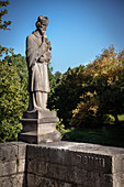 stone sculpture at the Danube bridge, Munderkingen, Alb-Donau district, Baden-Wuerttemberg, Danube, Germany