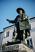 Monument to the general Tilly on the town hall square, Rain am Lech, district of Donau-Ries, Bavaria, Danube, Germany