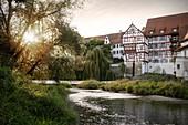 Blick von Riedlinger Donauinsel auf Altstadt, Riedlingen, Landkreis Biberach, Baden-Württemberg, Donau, Deutschland